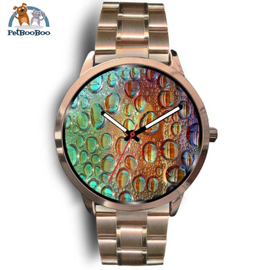 Rainbow Drops Rose Gold Watch Mens 40Mm / Metal Link