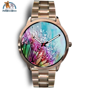 Rainbow Flowers Rose Gold Watch Mens 40Mm / Metal Link