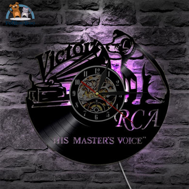 Rca Victor Vinyl Led Lighting Color Changing Wall Clock Clock