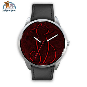Red Cat Silver Watch Mens 40Mm / Black Leather