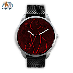 Red Cat Silver Watch Mens 40Mm / Black Metal Mesh