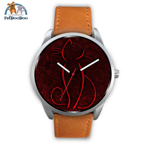 Red Cat Silver Watch Mens 40Mm / Brown Leather