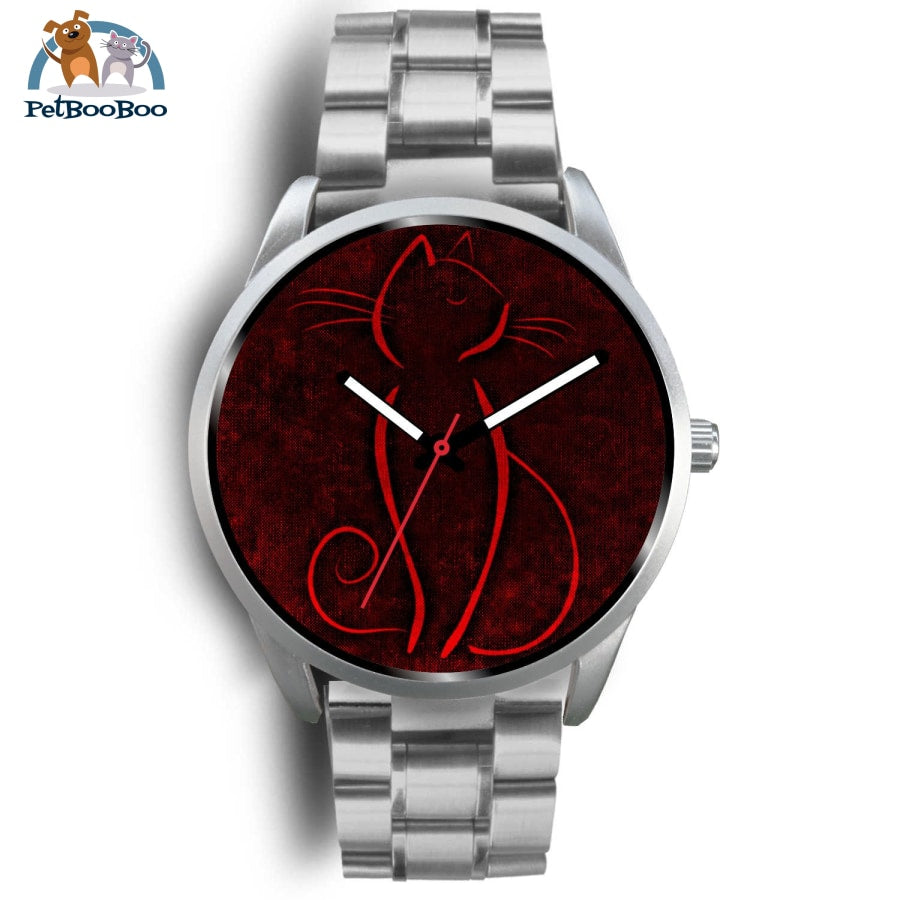 Red Cat Silver Watch Mens 40Mm / Metal Link