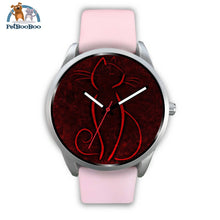 Red Cat Silver Watch Mens 40Mm / Pink Leather