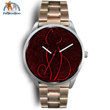 Red Cat Silver Watch Mens 40Mm / Rose Gold Metal Link