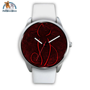 Red Cat Silver Watch Mens 40Mm / White Leather