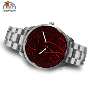 Red Cat Silver Watch