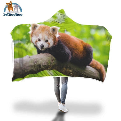Red Panda On A Branch Hooded Blanket Adult 80X55
