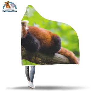 Red Panda On A Branch Hooded Blanket