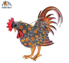 Rooster Brooch With Rhinestones For Women Orange 100007322