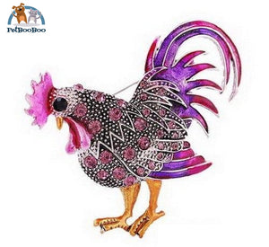 Rooster Brooch With Rhinestones For Women Purple 100007322
