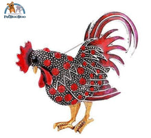 Rooster Brooch With Rhinestones For Women Red 100007322