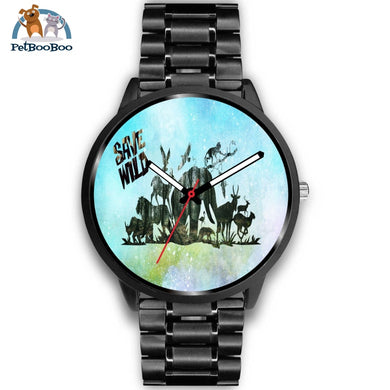 Save Wild Black Watch Mens 40Mm / Metal Link