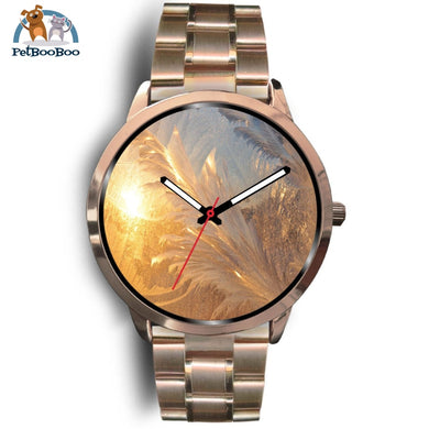 Snowflakes Rose Gold Watch Mens 40Mm / Metal Link