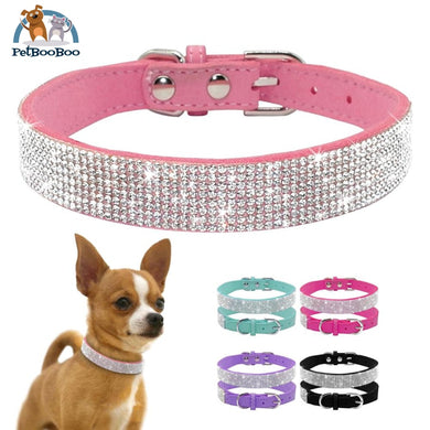 Soft Suede Leather Puppy Dog Or Cat Collar With Rhinestone Dogs