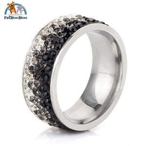 Stainless Steel Ring For Women With Rhinestone 11 / Colorful Black 100007323