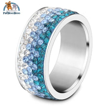 Stainless Steel Ring For Women With Rhinestone 11 / Colorful Blue 100007323