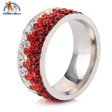 Stainless Steel Ring For Women With Rhinestone 11 / Colorful Red 100007323