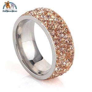 Stainless Steel Ring For Women With Rhinestone 7 / Champagne 100007323