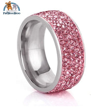 Stainless Steel Ring For Women With Rhinestone 7 / Pink 100007323