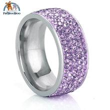Stainless Steel Ring For Women With Rhinestone 7 / Purple 100007323