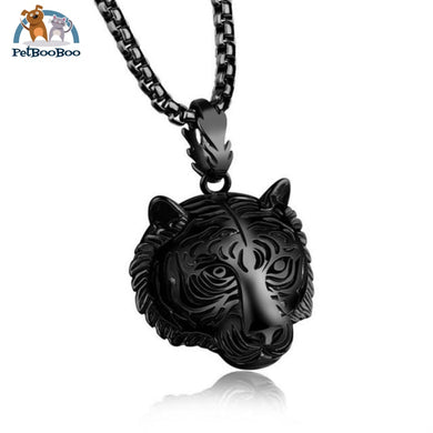 Stainless Steel Tiger Pendant And Necklace Black Jewel