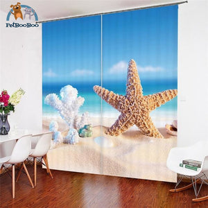 Starfish & Coral Curtains 1 / W 52Inch X H 84Inch Hook Curtains