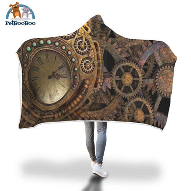Steampunk Clock Hooded Blanket Adult 80X55