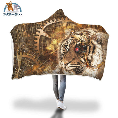 Steampunk Tiger Hooded Blanket