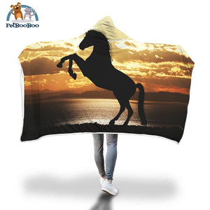 Sunset Horse Shadow Hooded Blanket