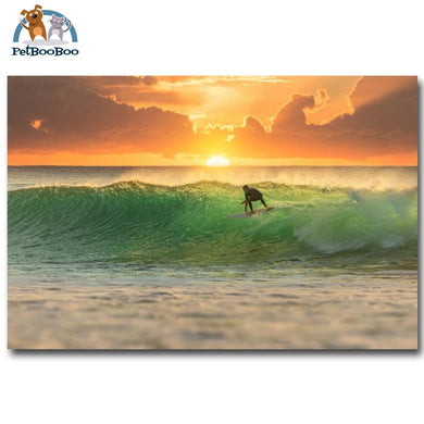 Sunset Surfing Ocean Wave Wall Art Silk Fabric & Poster 13X20 1704