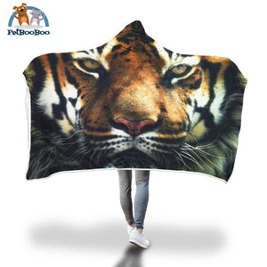Tiger Face Hooded Blanket