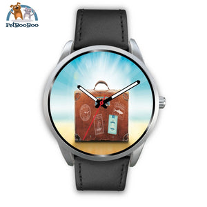 Time To Travel Silver Watch Mens 40Mm / Black Leather