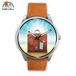 Time To Travel Silver Watch Mens 40Mm / Brown Leather