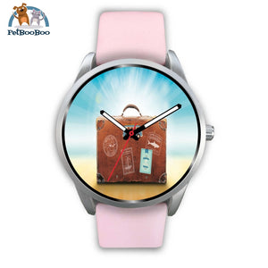Time To Travel Silver Watch Mens 40Mm / Pink Leather