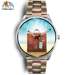 Time To Travel Silver Watch Mens 40Mm / Rose Gold Metal Link