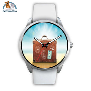 Time To Travel Silver Watch Mens 40Mm / White Leather