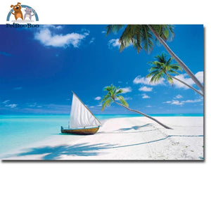 Tropical Beach Sea Waves Wall Art Silk Fabric & Poster 20X30 1704