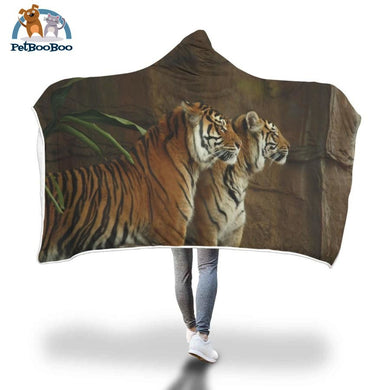 Two Tigers Hooded Blanket Adult 80X55