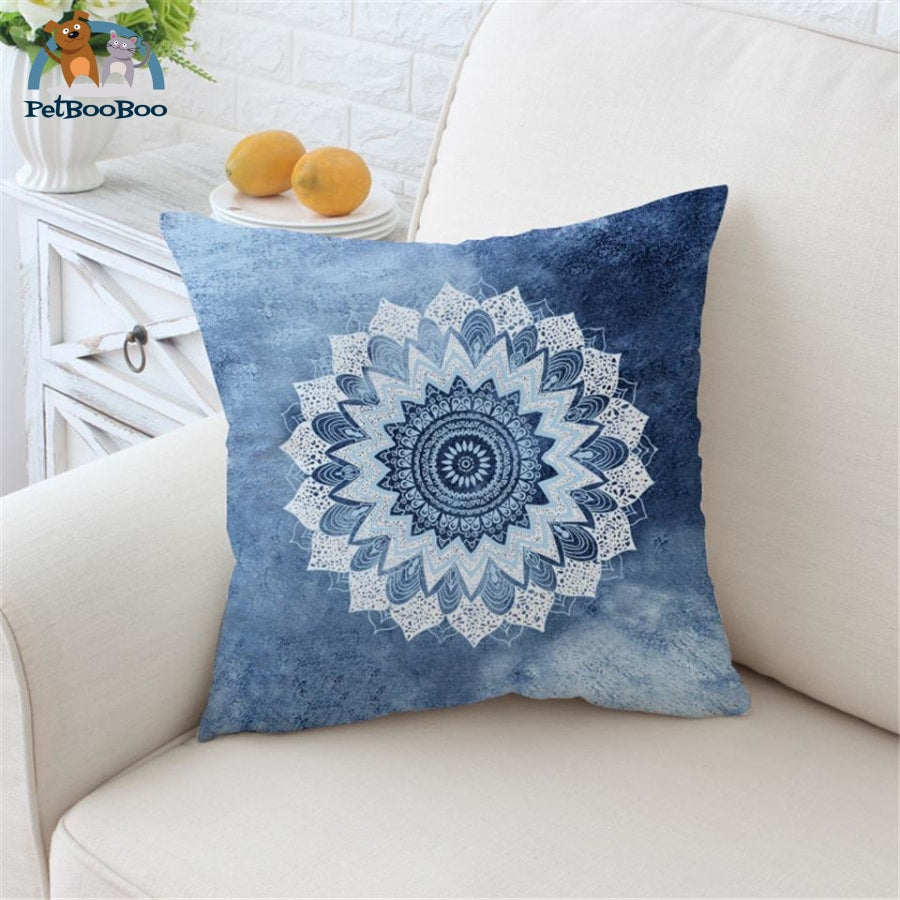 Vintage Cobalt Blue Mandala Cushion Cover 70Cmx70Cm / Floral Cushion