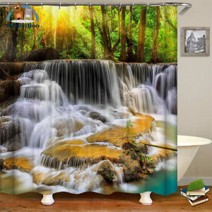 Waterfalls Scenery Shower Curtain Army Green / 180*180Cm 154006