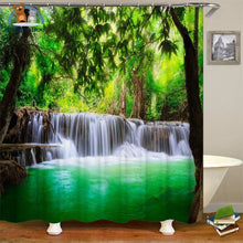 Waterfalls Scenery Shower Curtain Blue / 180*180Cm 154006