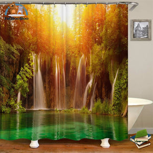 Waterfalls Scenery Shower Curtain Brown / 180*180Cm 154006