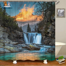 Waterfalls Scenery Shower Curtain Dark Gray / 180*180Cm 154006