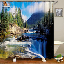 Waterfalls Scenery Shower Curtain Green / 180*180Cm 154006