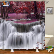 Waterfalls Scenery Shower Curtain Violet / 180*180Cm 154006