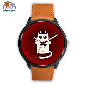 White Angel Cat Black Watch Mens 40Mm / Brown Leather