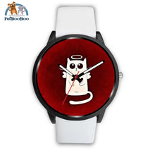 White Angel Cat Black Watch Mens 40Mm / Leather