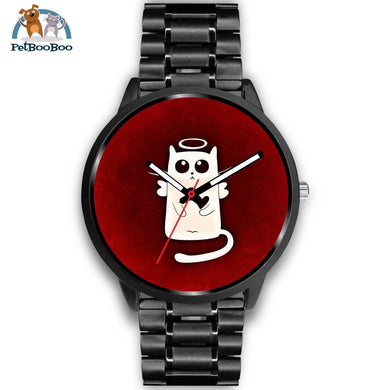 White Angel Cat Black Watch Mens 40Mm / Metal Link