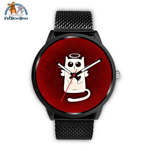 White Angel Cat Black Watch Mens 40Mm / Metal Mesh